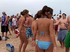 Amateur Sluts In Bikinis Have Fun On A Beach In Homemade Clip