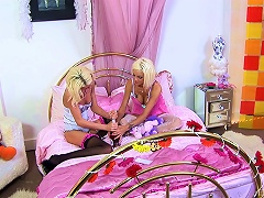 A Couple Of Slutty Blondes Have A Pajama Party With A Facial Cumshot
