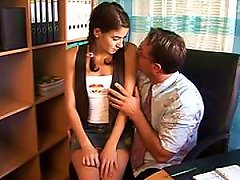 Pigtailed Brunette Teen Gets Fucked And Swallows Cum In An Office