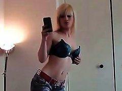 Blonde Emo Teen Taking Selfies