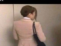Mosaic Beauty Office Lady Bukkake Blowjob In Elevator Porn Videos