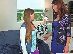 Busty Stepmom Cougar Scissoring Teenager