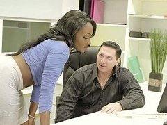 Sexy Ebony Secretary Osa Lovely Gets Her Pussy Fucked On The Table