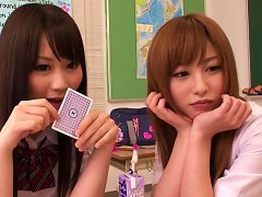 Pretty Japanese Teens Cocomi Naruse And Miina Kotaki Play Strip Poker