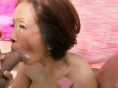 Asian Dirty Talking Gilf Takes It Up The Ass