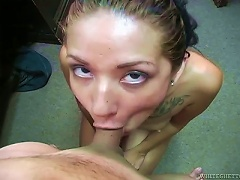Cute Amateur On Her Knees Giving An Incredible Blowjob