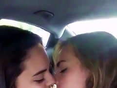 Two Sexy Teen Babes Kissing In Backseat Of Car
