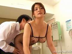 Busty Cowgirl In Fishnet Lingerie Rides A Hard Cock In The Office