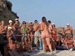 Russian Nudist In Dancing Contest Bounces Breasts
