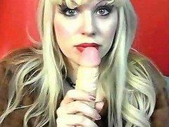 Blonde Wife Teasing And Sucking Huge Dildo