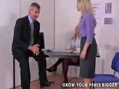 Two Blonde Babes Take On Their Boss And Give Him Some Hot Drtuber