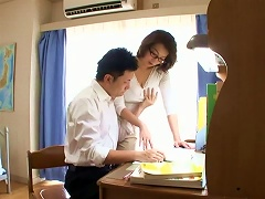 Busty Teacher Lets A Student Feast On Her Tits