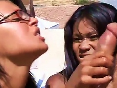 Two Smoking Hot Asian Chicks Want That Big Cock