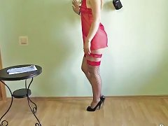 Young Slim Girl Anya Showing Her Figure And Walk In High Heels