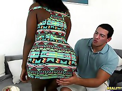 Camille Amore Bounces Her Black Booty On A Stiff, White Cock