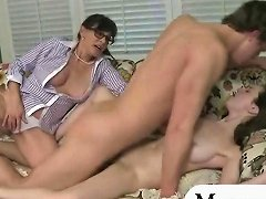 Booby Stepmom And Teen Gal Share On Dick