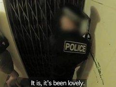 Fake Cop Leggy Office Slut Fucks Cop In An Elevator