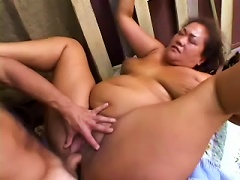 Fat Asian Lady Is Jumping On Her Man In The Barn