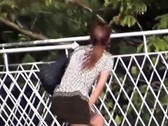 Asian Skank Caught Peeing