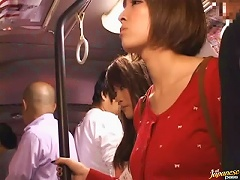 Two Pretty Japanese Schoolgirls Get Fucked In A  Bus