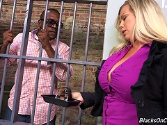Busty Blonde Takes A Facial Cumshot After Being Drilled With A Big Black Cock In Jail
