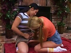 Stunning Cowgirls Swapping Cum After Sucking A Cock In A Kinky Threesome