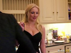 Horny Busty Blonde Sucks A Big Hard Cock In The Kitchen