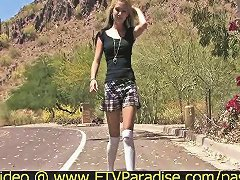 Alexa Tender Amateur Blonde Babe Walking Outside