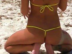Hot Russian Micro-kini Model At The Beach.