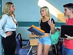 Busty Milf Teacher Gets With Teen Couple In Her Classroom