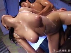 Babe Covered In Slippery Oil Shared By A Pair Of Guys