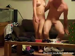 Hot Brown-haired  Gets Fucked On The Couch