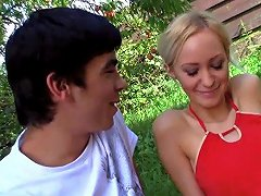 Blonde Teen Babe Receives Her First Anal Outdoors