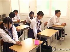 Asian School Girl Sucking Cock In The Classroom For Cum