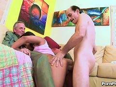 Dirty Teen Chick Lana Violet Go Geezer And Get Double Penetrated By Two Old Cocks