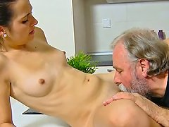 Old Fat Guy Eats And Fucks Tight Pussy Of Skinny Teen Lora On The Kitchen Table