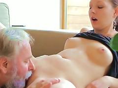 Puffy Tittied Teen Ilona Gets Eaten By Lucky Old Fucker