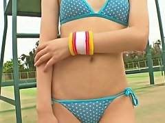 Shy Japanese Amateur Cutie Strips Outdoors In Tempting Bikini
