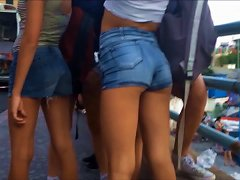 Tight Teen Arching Her Ass In Jeans Shorts