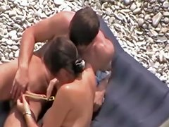 Naughty Wife Sucks His Cock At The Beach