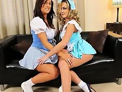 Blond And Brunette Sisters Teasing Hot