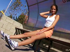 Leggy Sprinter With Stunning Tits Has Fun Finger Banging Solo