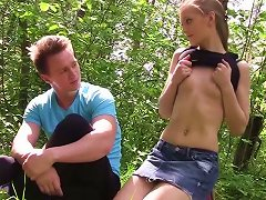 Two Russian Dudes Fuck Pretty Russian Teen In The Forest