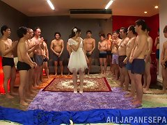 Japanese Bride Gangbanged And Swallows Multiple Cums