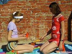 Leggy Lesbian Teen With Small Tits Enjoying A Fabulous Vibrator Fuck