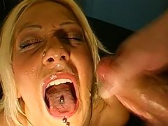 Dirty Blonde Gets Covered In Jizz