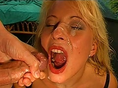 Bukkake Facial Scene For A Blonde Bitch In Sexy Lingerie