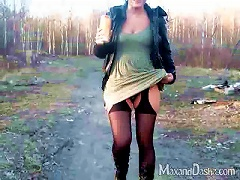 Salacious Russian Babe In Sexy Pantyhose Fingers Her Pussy In Outdoors POV Shoot