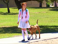 Redhead Cutie Goes Outdoors Only To Play Around With Her Private Parts