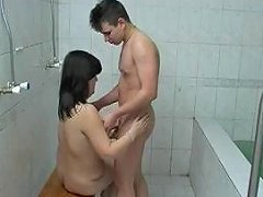 Mom With Flabby Saggy Tits Guy In The Bath